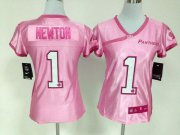 Wholesale Cheap Nike Panthers #1 Cam Newton New Pink Women's Be Luv'd Stitched NFL Elite Jersey
