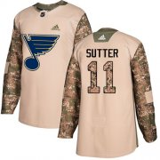 Wholesale Cheap Adidas Blues #11 Brian Sutter Camo Authentic 2017 Veterans Day Stitched NHL Jersey