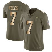 Wholesale Cheap Nike Jaguars #7 Nick Foles Olive/Gold Men's Stitched NFL Limited 2017 Salute To Service Jersey