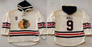 Wholesale Blackhawks #9 Bobby Hull Cream Heavyweight Pullover Hoodie Stitched NHL Jersey