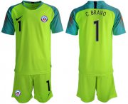 Wholesale Cheap Chile #1 C.Bravo Shiny Green Goalkeeper Soccer Country Jersey