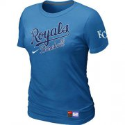 Wholesale Cheap Women's MLB Kansas City Royals Light Blue Nike Short Sleeve Practice T-Shirt
