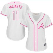 Wholesale Cheap Braves #11 Ender Inciarte White/Pink Fashion Women's Stitched MLB Jersey