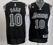 Wholesale Cheap Los Angeles Lakers #10 Steve Nash Revolution 30 Swingman All Black With White Jersey