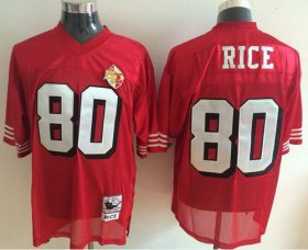 Wholesale Cheap Mitchell and Ness 49ers #80 Jerry Rice Red With 50TH 1996 Stitched NFL Jersey