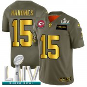 Wholesale Cheap Kansas City Chiefs #15 Patrick Mahomes NFL Men's Nike Olive Gold Super Bowl LIV 2020 2019 Salute to Service Limited Jersey