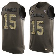 Wholesale Cheap Nike Raiders #15 Nelson Agholor Green Men's Stitched NFL Limited Salute To Service Tank Top Jersey
