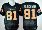 Wholesale Cheap Oklahoma State Cowboys #81 Justin Blackmon Black Pro Combat Jersey