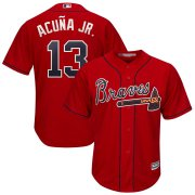 Wholesale Cheap Atlanta Braves #13 Ronald Acuna Jr. Majestic 2019 Alternate Official Cool Base Player Jersey Scarlet