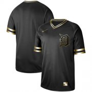 Wholesale Cheap Nike Tigers Blank Black Gold Authentic Stitched MLB Jersey