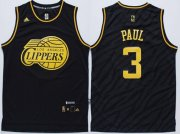 Wholesale Cheap Los Angeles Clippers #3 Chris Paul Revolution 30 Swingman 2014 Black With Gold Jersey