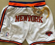 Wholesale Cheap Men's New York Knicks White Just Don Shorts Swingman Shorts