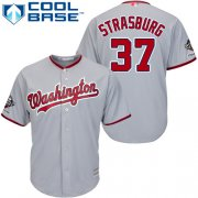 Wholesale Cheap Nationals #37 Stephen Strasburg Grey New Cool Base 2019 World Series Champions Stitched MLB Jersey