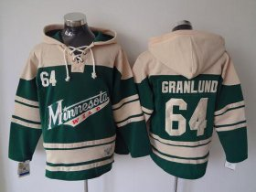 Wholesale Wild #64 Mikael Granlund Green Sawyer Hooded Sweatshirt Stitched NHL Jersey