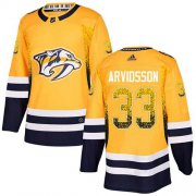 Wholesale Cheap Adidas Predators #33 Viktor Arvidsson Yellow Home Authentic Drift Fashion Stitched NHL Jersey