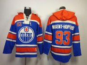 Wholesale Cheap Oilers #93 Nugent-Hopkins Light Blue Sawyer Hooded Sweatshirt Stitched NHL Jersey