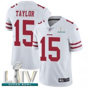 Wholesale Cheap Nike 49ers #15 Trent Taylor White Super Bowl LIV 2020 Men's Stitched NFL Vapor Untouchable Limited Jersey