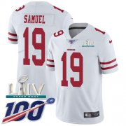 Wholesale Cheap Nike 49ers #19 Deebo Samuel White Super Bowl LIV 2020 Men's Stitched NFL 100th Season Vapor Limited Jersey