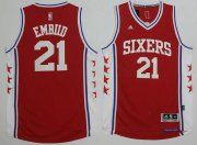 Wholesale Cheap Men's Philadelphia 76ers #21 Joel Embiid NEW Red Stitched NBA Adidas Revolution 30 Swingman Jersey