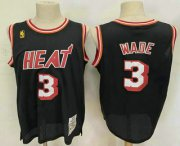 Wholesale Cheap Men's Miami Heat #3 Dwyane Wade Black 2003-04 Hardwood Classics Soul Swingman Throwback Jersey