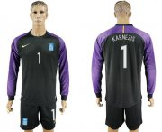 Wholesale Cheap Greece #1 Karnezis Black Goalkeeper Long Sleeves Soccer Country Jersey