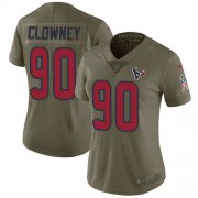 Wholesale Cheap Nike Texans #90 Jadeveon Clowney Olive Women's Stitched NFL Limited 2017 Salute to Service Jersey