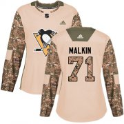 Wholesale Cheap Adidas Penguins #71 Evgeni Malkin Camo Authentic 2017 Veterans Day Women's Stitched NHL Jersey
