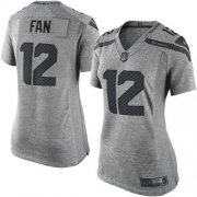 Wholesale Cheap Nike Seahawks #12 Fan Gray Women's Stitched NFL Limited Gridiron Gray Jersey