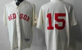 Wholesale Red Sox #15 Dustin Pedroia Cream Cool Base Stitched Baseball Jersey