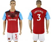 Wholesale Cheap West Ham United #3 Cresswell Home Soccer Club Jersey