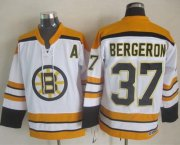 Wholesale Cheap Bruins #37 Patrice Bergeron White CCM Throwback Stitched NHL Jersey