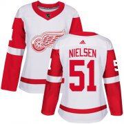 Wholesale Cheap Adidas Red Wings #51 Frans Nielsen White Road Authentic Women's Stitched NHL Jersey