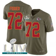 Wholesale Cheap Nike Chiefs #72 Eric Fisher Olive Super Bowl LIV 2020 Men's Stitched NFL Limited 2017 Salute To Service Jersey