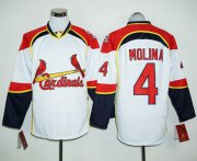 Wholesale Cheap Cardinals #4 Yadier Molina White/Red Long Sleeve Stitched MLB Jersey
