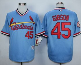 Wholesale Cheap Cardinals #45 Bob Gibson Blue 1982 Turn Back The Clock Stitched MLB Jersey