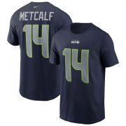 Wholesale Cheap Seattle Seahawks #14 DK Metcalf Nike Team Player Name & Number T-Shirt College Navy