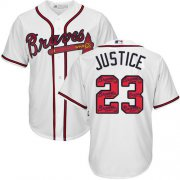 Wholesale Cheap Braves #23 David Justice White Team Logo Fashion Stitched MLB Jersey