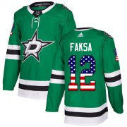 Wholesale Cheap Adidas Stars #12 Radek Faksa Green Home Authentic USA Flag Stitched NHL Jersey