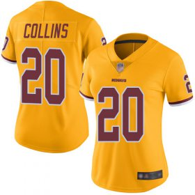 Wholesale Cheap Nike Redskins #20 Landon Collins Gold Women\'s Stitched NFL Limited Rush Jersey
