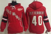 Wholesale Cheap Detroit Red Wings #40 Henrik Zetterberg Red Women's Old Time Heidi NHL Hoodie