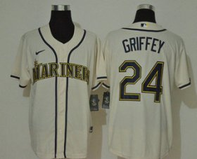 Wholesale Cheap Men\'s Seattle Mariners #24 Ken Griffey Jr. Cream Navy Blue Name Stitched MLB Cool Base Nike Jersey