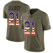 Wholesale Cheap Nike Cowboys #21 Ezekiel Elliott Olive/USA Flag Youth Stitched NFL Limited 2017 Salute to Service Jersey