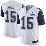 Wholesale Cheap Nike Cowboys #15 Devin Smith White Men's Stitched With Established In 1960 Patch NFL Limited Rush Jersey