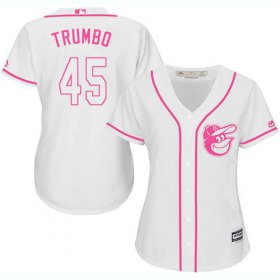 Wholesale Cheap Orioles #45 Mark Trumbo White/Pink Fashion Women\'s Stitched MLB Jersey