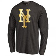 Wholesale Cheap New York Mets Gold Collection Long Sleeve Tri-Blend T-Shirt Black