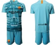 Wholesale Cheap Barcelona Blank Light Blue Goalkeeper Soccer Club Jersey