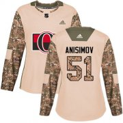 Wholesale Cheap Adidas Senators #51 Artem Anisimov Camo Authentic 2017 Veterans Day Women's Stitched NHL Jersey