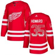 Wholesale Cheap Adidas Red Wings #35 Jimmy Howard Red Home Authentic Drift Fashion Stitched NHL Jersey