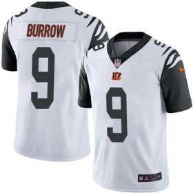 Wholesale Cheap Nike Bengals #9 Joe Burrow White Youth Stitched NFL Limited Rush Jersey
