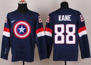 Wholesale Cheap Olympic Team USA #88 Patrick Kane Navy Blue Captain America Fashion Stitched NHL Jersey